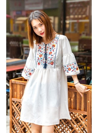 KDS07138016W Embroidery ethnic puff sleeves dress REAL PHOTO