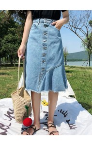 KSK07136322L High waist ruffle denim skirt REAL PHOTO