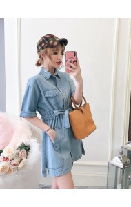 KDS07133308L Plus size denim drawstring dress REAL PHOTO