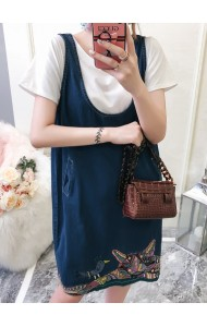 KDS07132308X Embroidery cat bird denim jumpsuit dress REAL PHOTO