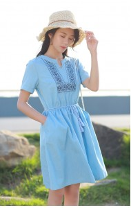 KDS07130738S V neck embroidery soft denim dress REAL PHOTO