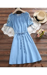 KDS07132309Y Shoulder off embroidery sleeves soft denim dress REAL PHOTO