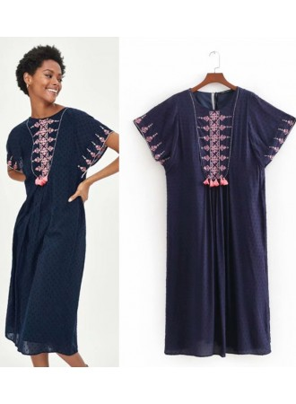 KDS0714003Y Embroidery dress in blue REAL PHOTO