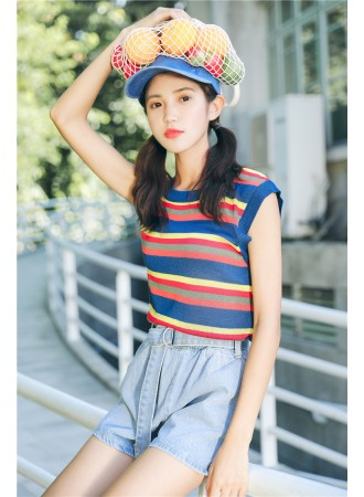 KTP07184908P Stripes knit top REAL PHOTO