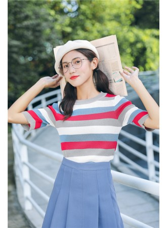 KTP07185908P Knit stripes top REAL PHOTO