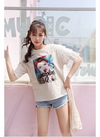 KTP07189361S Lace shoulder printed t shirt REAL PHOTO