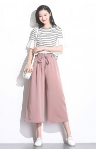 KPT0723381G Plus size CHIC bow culottes REAL PHOTO