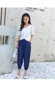 KST07240389Y V neck soft jeans pants set REAL PHOTO