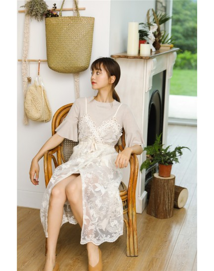 KST0725796O Korea lace 2 piece dress set REAL PHOTO