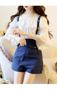 KST0725718Y Korea shoulder off 2 piece jumpsuit set REAL PHOTO