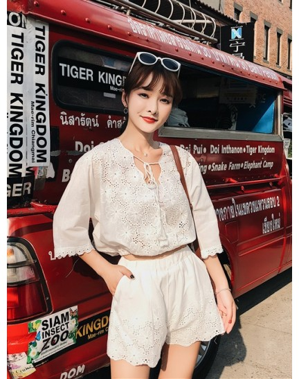 KST07263257M Korea crochet V neck pants set REAL PHOTO