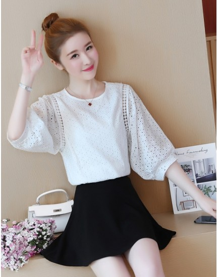KTP07261155D Puff sleeves crochet hollow top REAL PHOTO