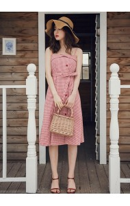 KDS07265509X Plaid dress in red REAL PHOTO