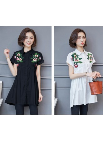 KTP07274269O Plus size embroidery cotton blouse REAL PHOTO