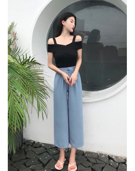 KTP0728989H Knit off shoulder t-shirt REAL PHOTO