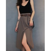 KSK07283505H Split high waisted belted dress REAL PHOTO