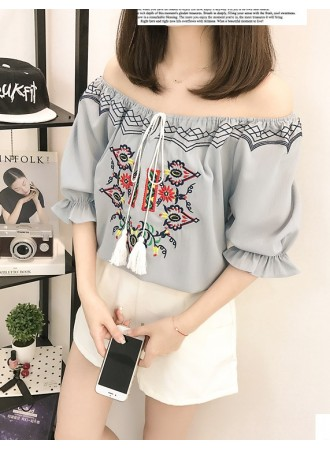 KTP07283257N Plus size embroidery shoulder off  blouse REAL PHOTO