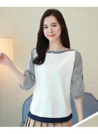 KTP07295989S Puff sleeves stripes knit blouse REAL PHOTO