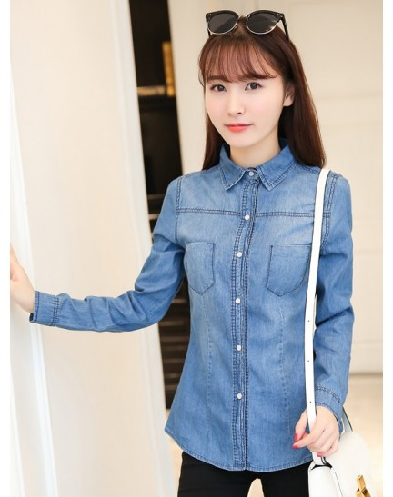 KTP07316869F Soft denim shirt REAL PHOTO