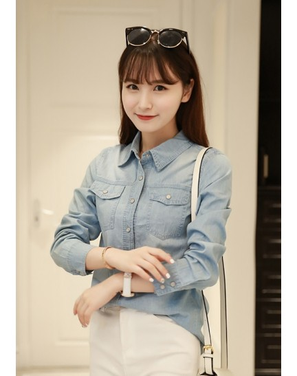 KTP07311869F Soft denim pocket shirt REAL PHOTO