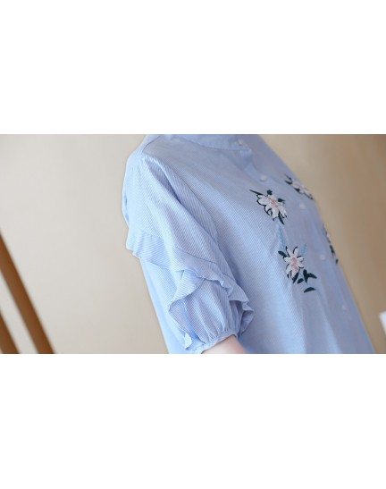 KTP08018255D Stripes puff sleeves embroidery sequin shirt REAL PHOTO