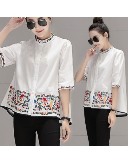 KTP08017335D Embroidery half sleeves blouse REAL PHOTO