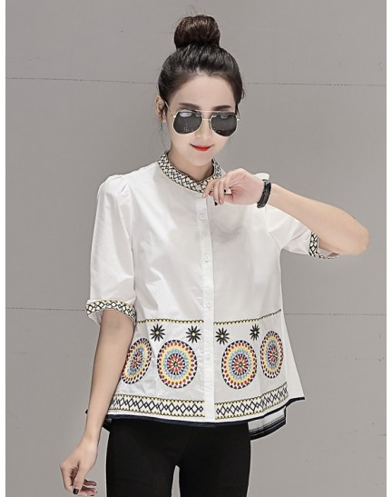 KTP08021055D Embroidery half sleeves blouse REAL PHOTO