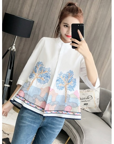 KTP08023755D Embroidery half sleeves blouse REAL PHOTO