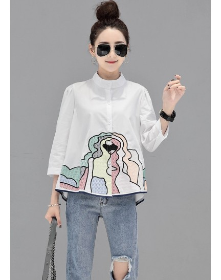 KTP08021585D Embroidery half sleeves blouse REAL PHOTO