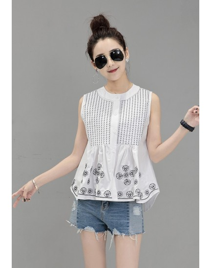 KTP08022055D Embroidery sleeveless wawa blouse REAL PHOTO