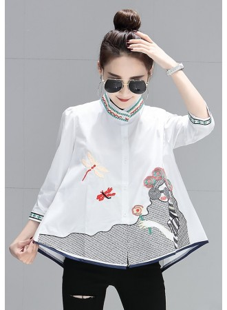 KTP08020785D Embroidery half sleeves blouse REAL PHOTO