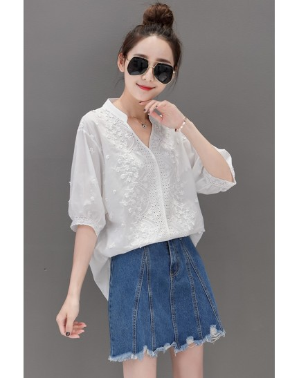 KTP08021335D V neck embroidery blouse REAL PHOTO