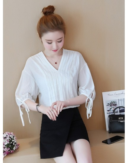 KTP08022155D V neck linen blouse with bow REAL PHOTO