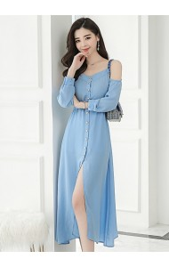 KDS08035195H Shoulder off long sleeves midi dress REAL PHOTO