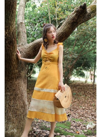 KDS08069812J Ruffle sleeves tiered dress REAL PHOTO