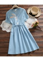 KDS08078768H Embroidery bunny dress REAL PHOTO