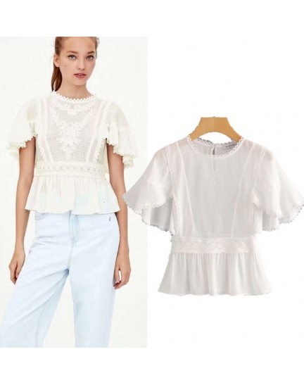 KTP0808001Y Chiffon ruffle sleeves peplum blouse REAL PHOTO