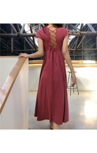 KDS08085438H CHIC bared back midi dress REAL PHOTO