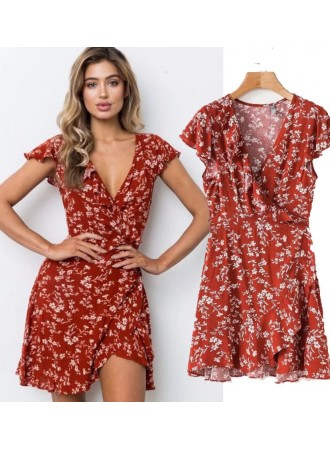 KDS0813001Y Ruffle floral overlapping dress REAL PHOTO