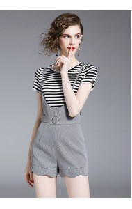 KST0813003T Stripes shirt jumpsuit 2 piece set REAL PHOTO