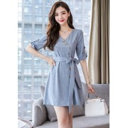 KDS08145485S V neck button bow dress REAL PHOTO