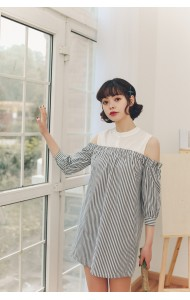 KDS08160360T Shoulder off stripes dress REAL PHOTO
