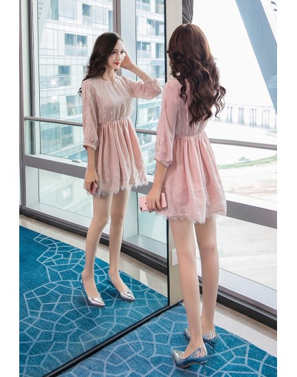 KDS08172215A Chiffon lace dress REAL PHOTO