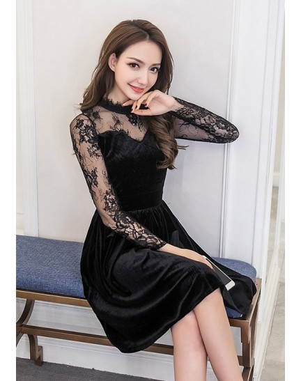 KDS08178805A Velvet lace sleeves dress REAL PHOTO