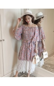 KDS08202386M Shoulder off floral lace dress REAL PHOTO