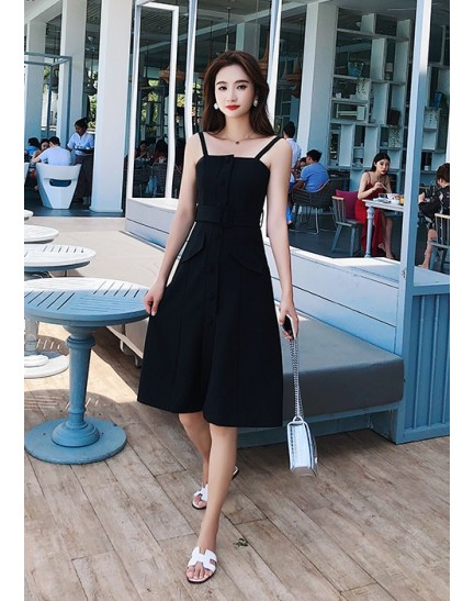 KDS08212889W Button pocket belted dress REAL PHOTO
