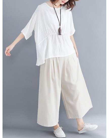 KST0906175M Plus size linen pants set REAL PHOTO