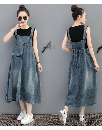 KDS0906902B Denim jumpsuit drawstring dress REAL PHOTO