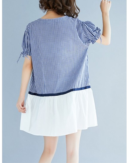 KDS0907165M Plus size checkered puff sleeves dress REAL PHOTO