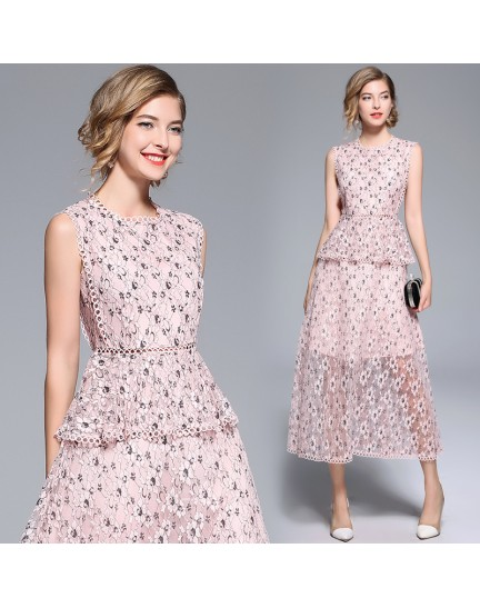 BDS09123883B Lace floral layer dress REAL PHOTO
